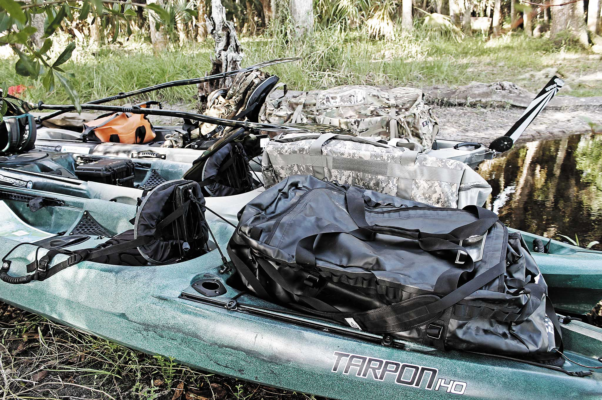 You can fit a surprising amount of gear on a kayak.