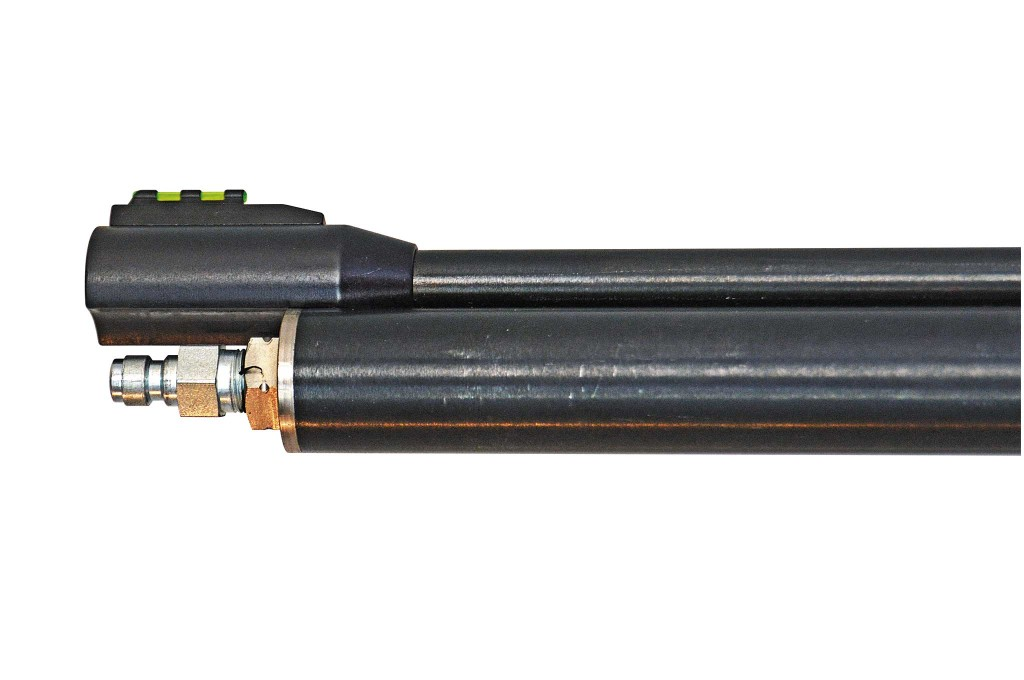 The Benjamin Discovery from Crosman is a pre-charged pneumatic rifle with a filling port just below the muzzle.