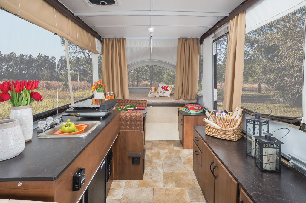 The Jayco Jay Series Sport, a compact pop-up trailer that also features pop-out expandable sleeping areas.