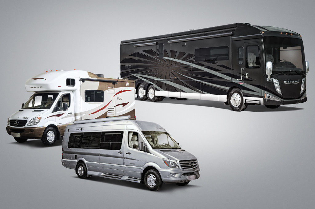 From left: The Winnebago View: Note the extended sleeping area directly above the vehicle's cab, this identifies as a Class-C motorhome. The Winnebago Era, a Class-B motorhome based on a Mercedes Sprinter van. Notice the low-profile roof and lack of sleeping area above the cab. The Winnebago Grand Tour: Class-A motorhomes are the largest and most luxurious money can buy, and often feature amenities similar to a high-end hotel room.