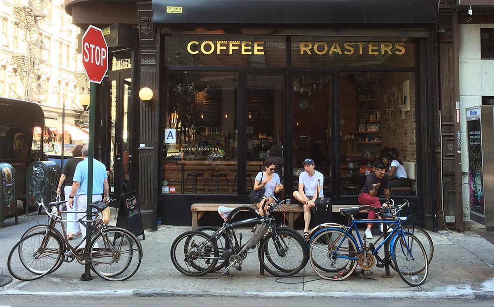 Coffee shop city street bicycle