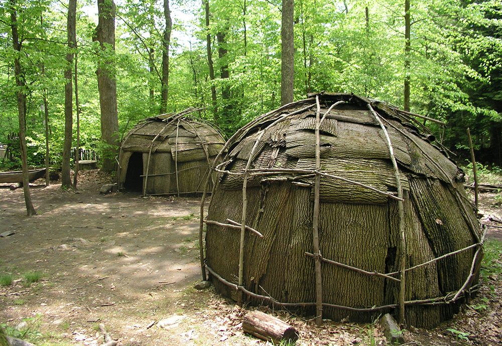 These wigwams were built in the style of the Algonquin tribe.